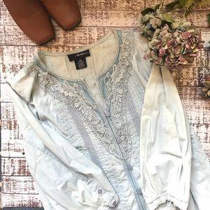 Denim Pleat & Lace Blouse